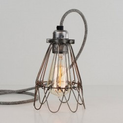 Flower Cage Lamp (Raw Steel) - Red Candy