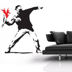 Banksy Hooligan Wall Sticker - Red Candy