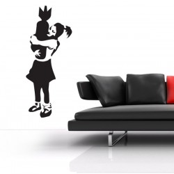 Banksy Bomb Hugger Wall Sticker - girl and bomb wall sticker