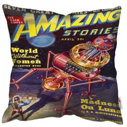 Pulp World Without Women Cushion – Science Fiction print cushion