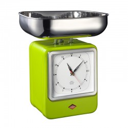 Wesco Retro Scales with Clock - Lime Green - kitchen scales