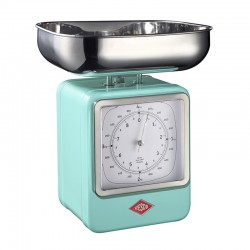 Wesco Retro Scales with Clock - Mint - retro kitchen scales