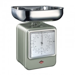 Wesco Retro Scales with Clock - New Silver - kitchen scales