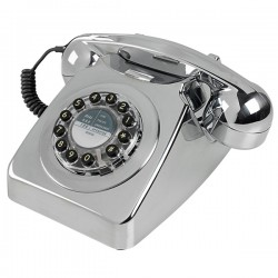 Wild and Wolf 746 Phone - Chrome Brushed - Retro style telephone