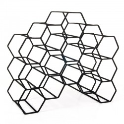 Pico 15 Stackable Wine Rack - Black - geometric hexagon wine rack