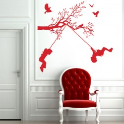 Children On Swings Wall Sticker - Red Candy