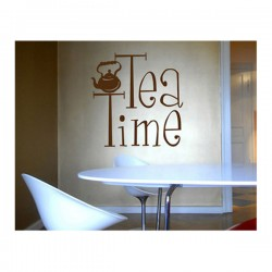 Tea Time Wall Sticker - teapot and quote wall decor