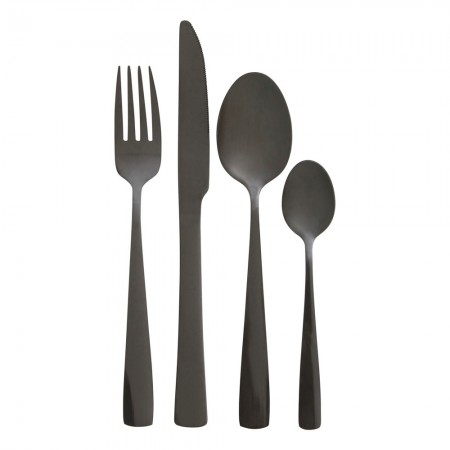 Black Stainless Steel Cutlery Set (16 Piece) - Red Candy