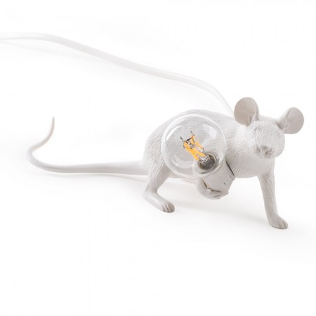 Seletti Lop Lying Down Mouse Lamp (White) - Red Candy