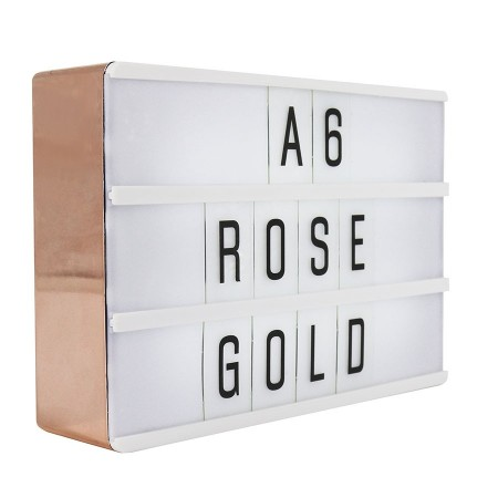 Rose Gold Lightbox Sign (A6) - Red Candy