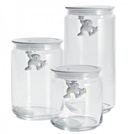 Alessi Gianni Storage Jar (White) - Red Candy
