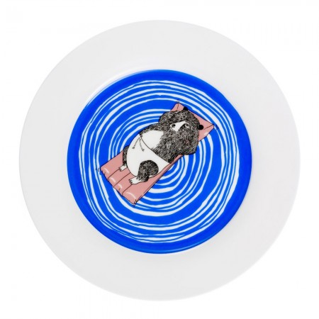 Bear Swims Dinner Plate - Red Candy