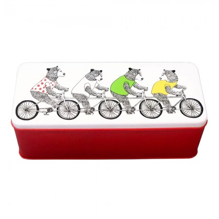 Bicycling Bears Biscuit Tin - Red Candy