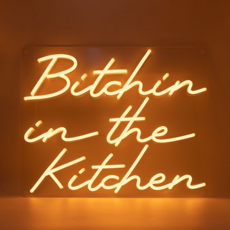 Neon Bitchin in the Kitchen Wall Light Sign- Red Candy
