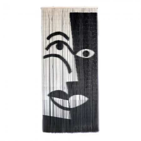 Black & White Face Bamboo Door Curtain - Red Candy