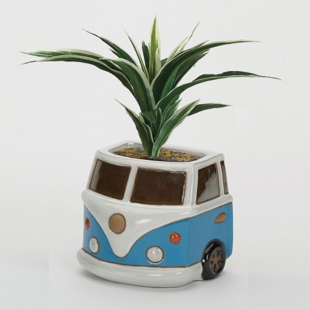 Blue Campervan Wall Planter - Red Candy