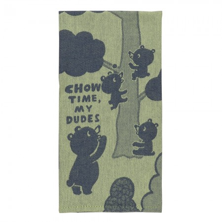 Chow Time My Dudes Tea Towel - Red Candy