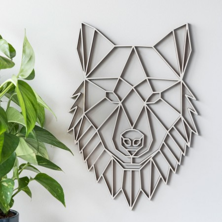 Geometric Wolf Wall Art (Poplar) - Red Candy
