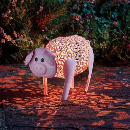 Delilah Pig Solar Garden Light - Red Candy