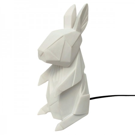 White Origami Rabbit Lamp - Red Candy