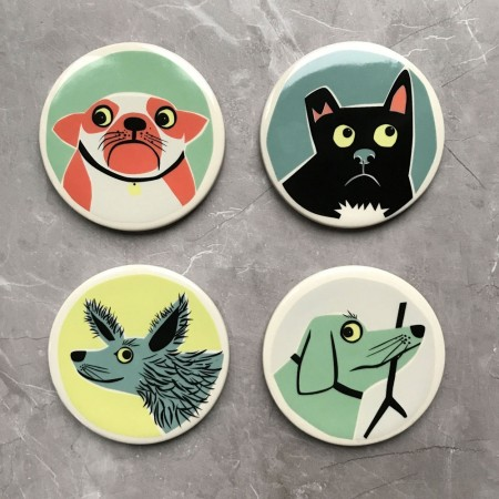 Dog Coasters (Set of 4) - Red Candy