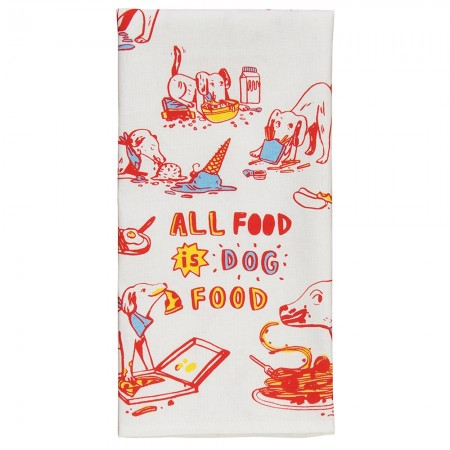 All Food is Dog Food Tea Towel - Red Candy
