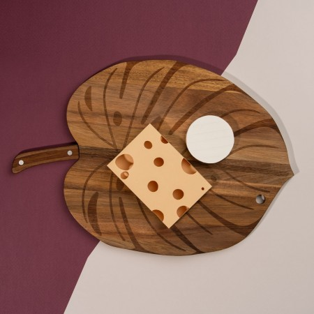 Monstera Cheese Board & Knife - Red Candy