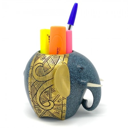 Lucky Elephant Pen Holder - Red Candy