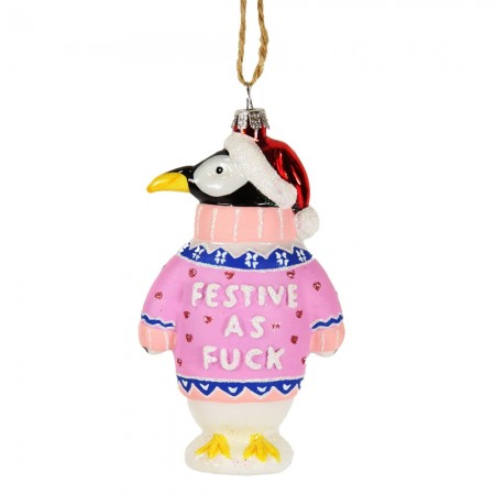 Festive Jumper Penguin Bauble - Red Candy
