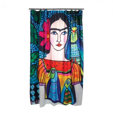 Frida Illustration Shower Curtain - Red Candy