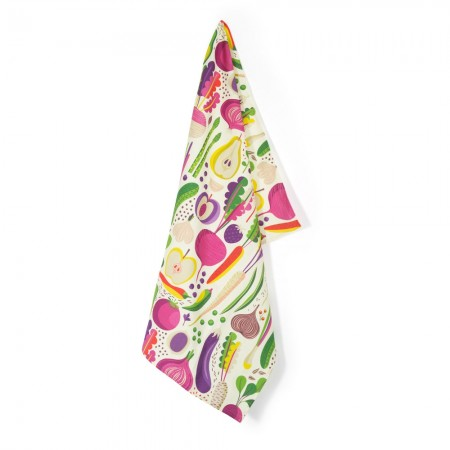 Fruits & Roots Tea Towel (White) - Red Candy