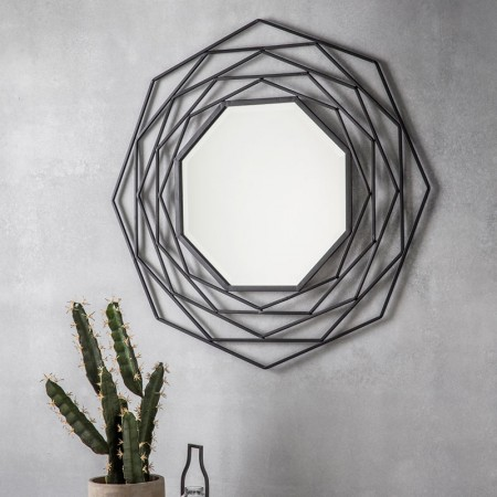 Black Octagonal Wall Mirror (91 x 91cm) - Red Candy