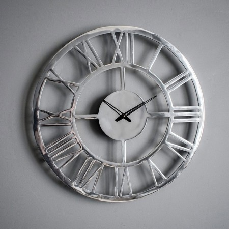 Polished Aluminium Cut-Out Clock - Red Candy