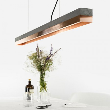C1 Strip Pendant Light (Charcoal & Copper) - Red Candy
