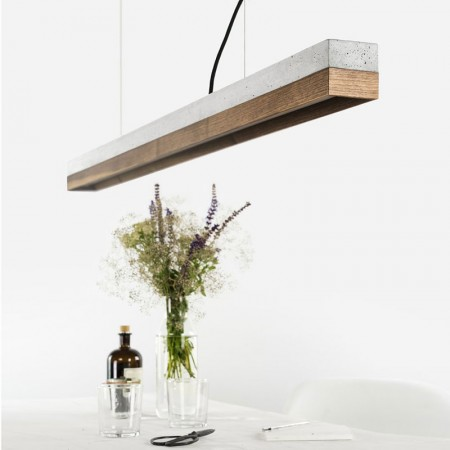 C1 Strip Pendant Light (Grey & Walnut) - Red Candy