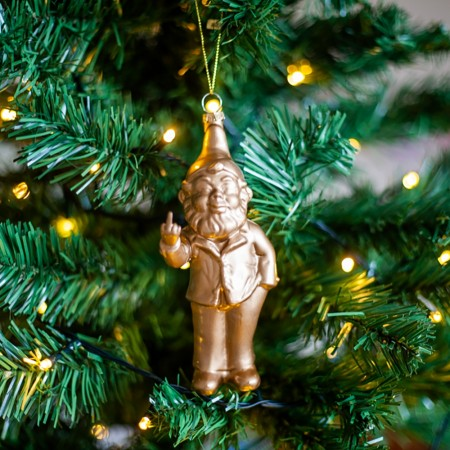 Gold Naughty Gnome Bauble - Red Candy