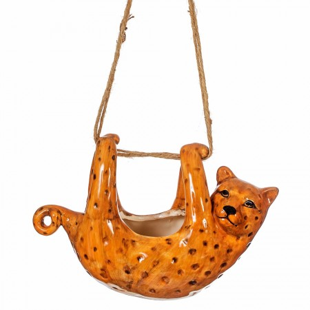 Hanging Leopard Planter - Red Candy