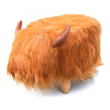 Hamish the Highland Cow Footstool - Red Candy