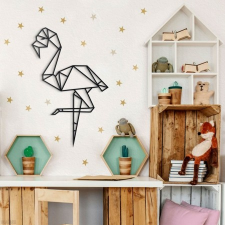 Geometric Flamingo Metal Wall Art - Red Candy