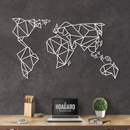 Geometric World Map (White) - Red Candy
