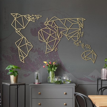 Geometric World Map (Gold) - Red Candy