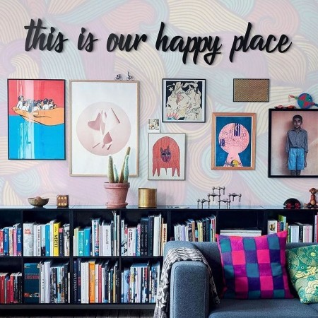 This is Our Happy Place Metal Wall Art - Red Candy