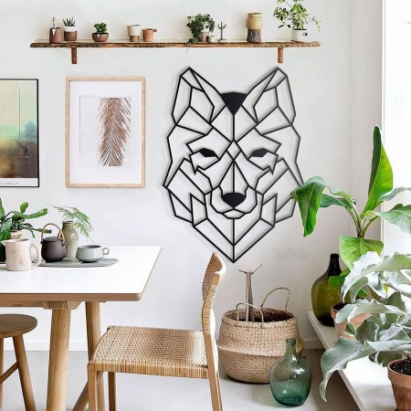 Wolf Head Metal Wall Art - Red Candy