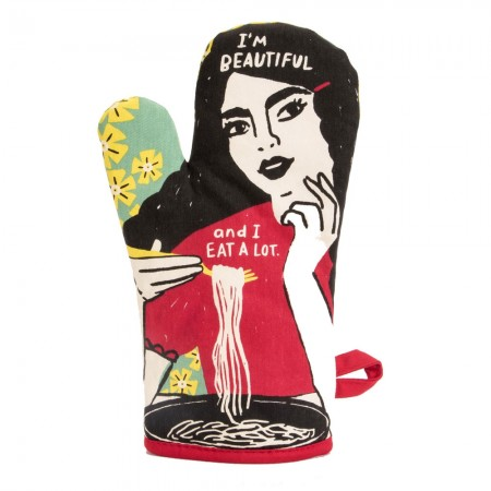 Beautiful and Eat a Lot Oven Mitt - Red Candy