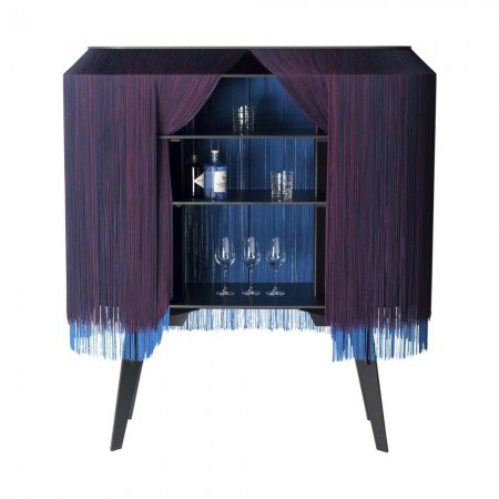 Ibride Alpaga Crepuscule Fringed Bar Cabinet - Red Candy
