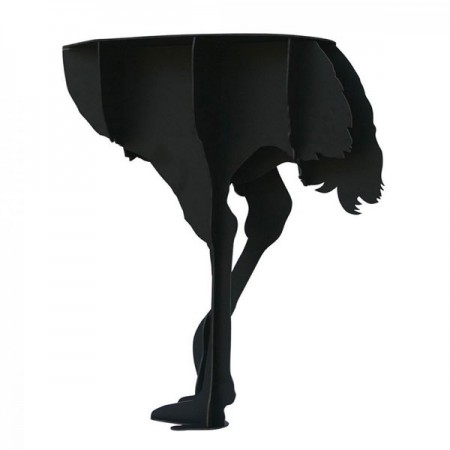 Ibride Diva Ostrich Console Side Table (Black) - Red Candy