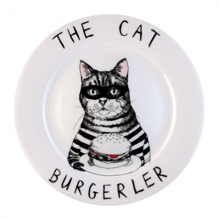 The Cat Burgerler Side Plate - Red Candy