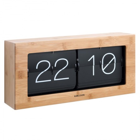 Karlsson Boxed Flip Clock Large (Bamboo) - Red Candy