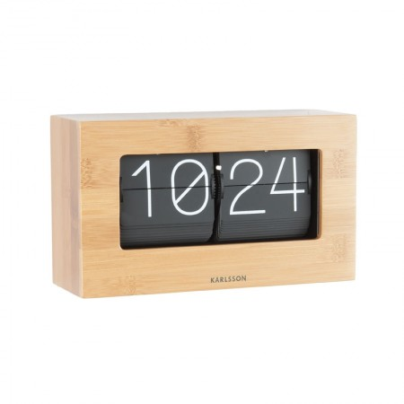 Karlsson Boxed Flip Clock Small (Bamboo) - Red Candy