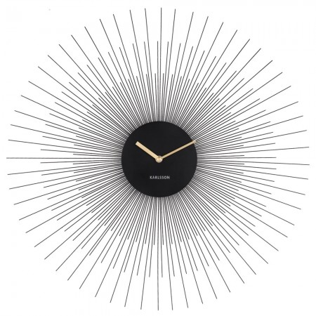 Karlsson Large Peony Wall Clock (Black) - Red Candy